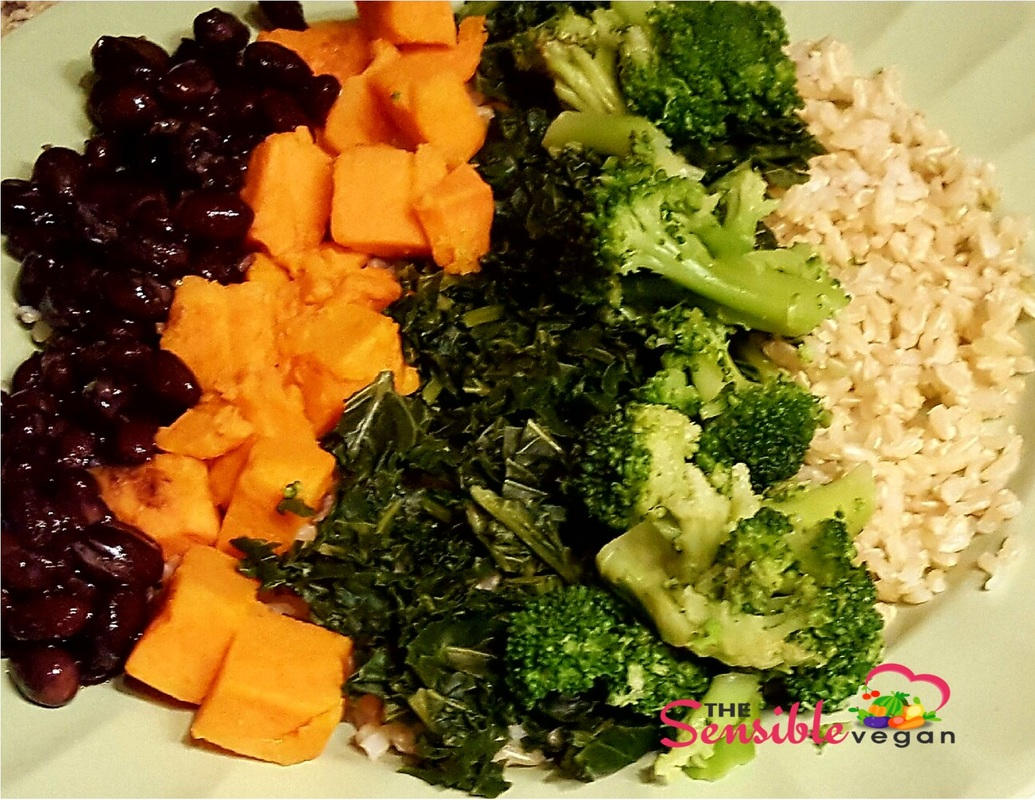 veggie plate with brown rice
