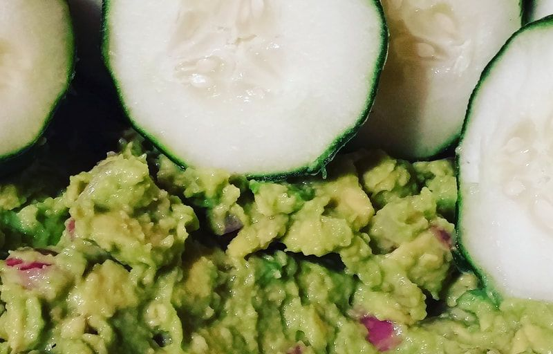 fresh guacamole and cucumbers