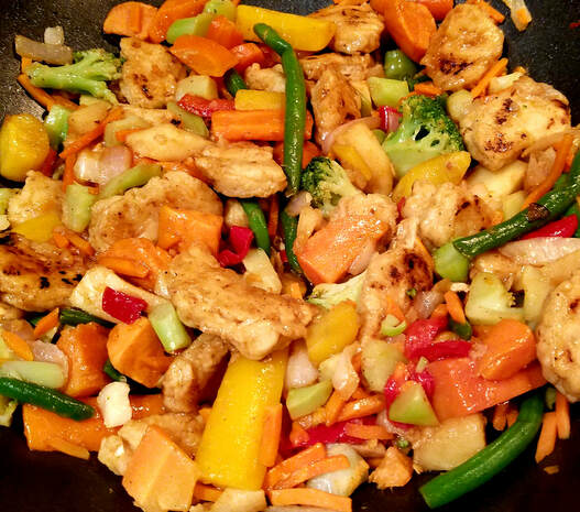 Vegan chicken stir fry